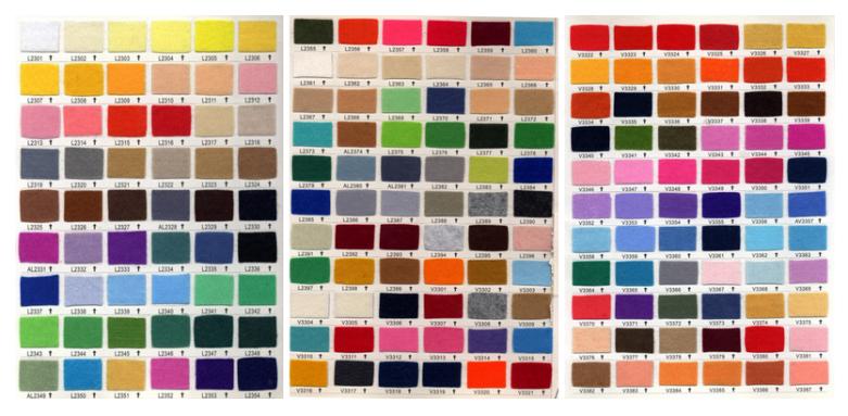 Farbauswahl bei Aufnähern aus Filz