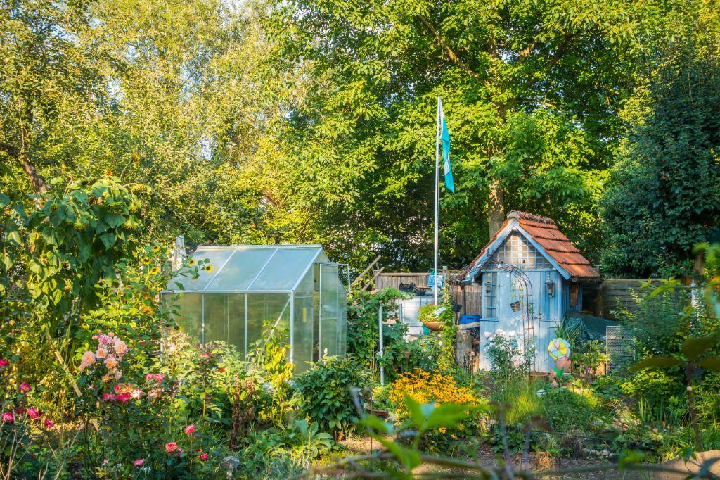 Fahnen im Kleingarten