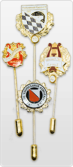 Badges and pins with long pins